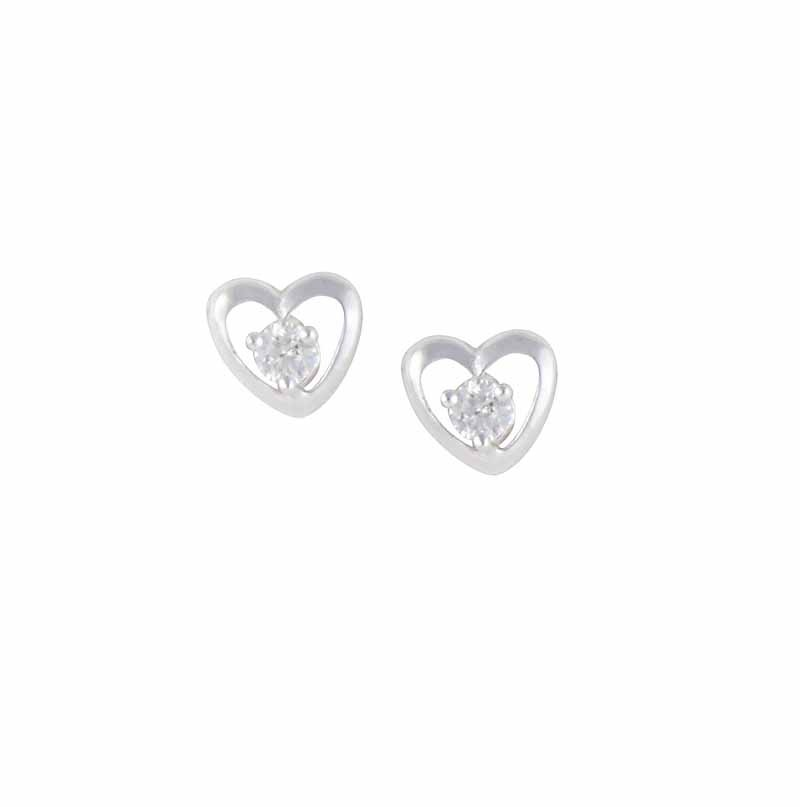 Heart and Cubic Zirconia Stud Earrings