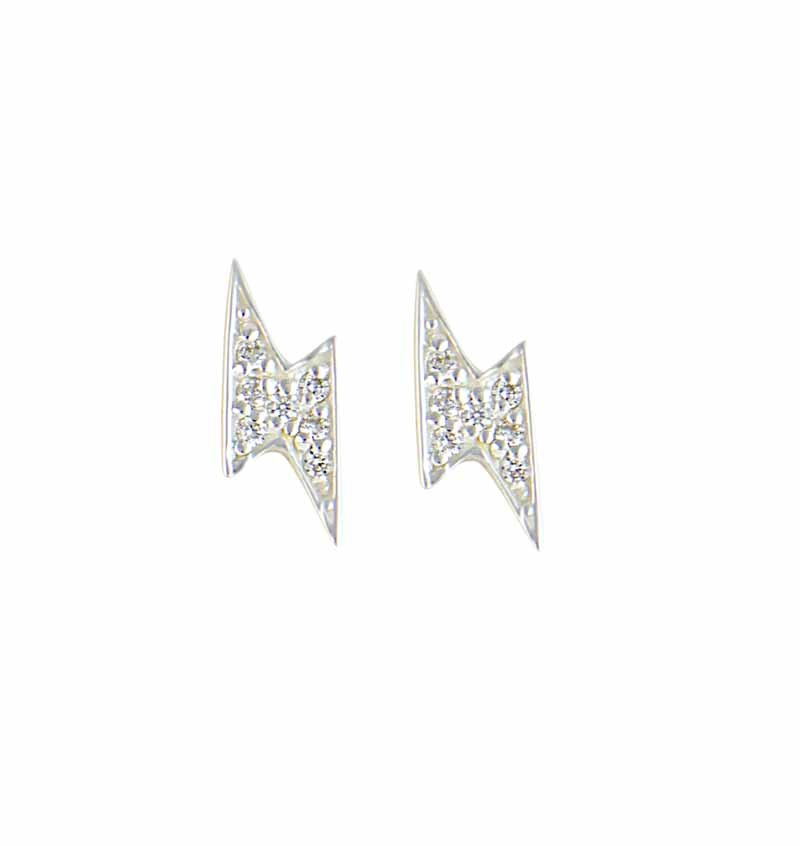 Lightening Silver Stud Earrings