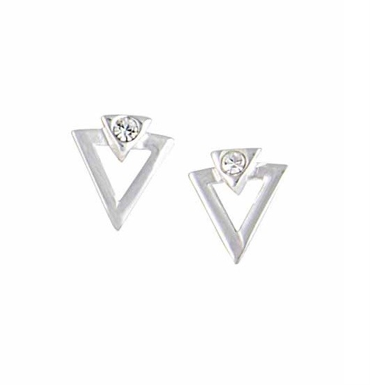 Small Triangle Silver Earrings