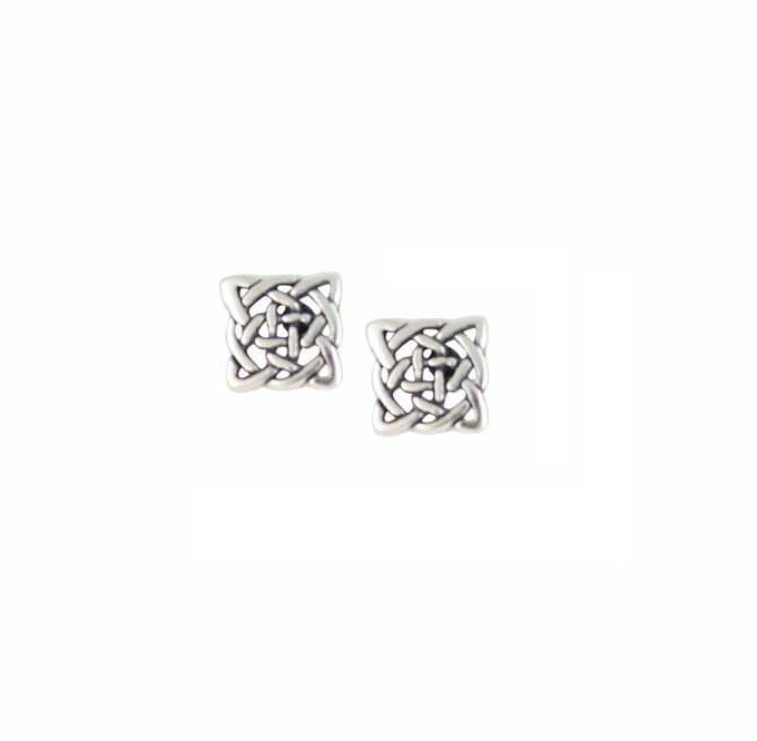 Square Silver Celtic Knot Earrings