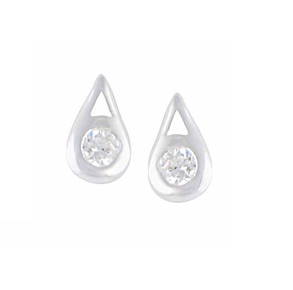 Teardrop Silver Stud Earrings
