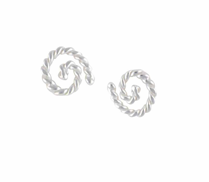 Rope Pattern Spiral Silver Stud Earrings