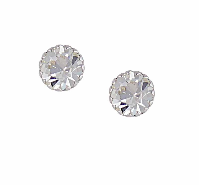 Rhodium Plated Clear Crystal Earrings