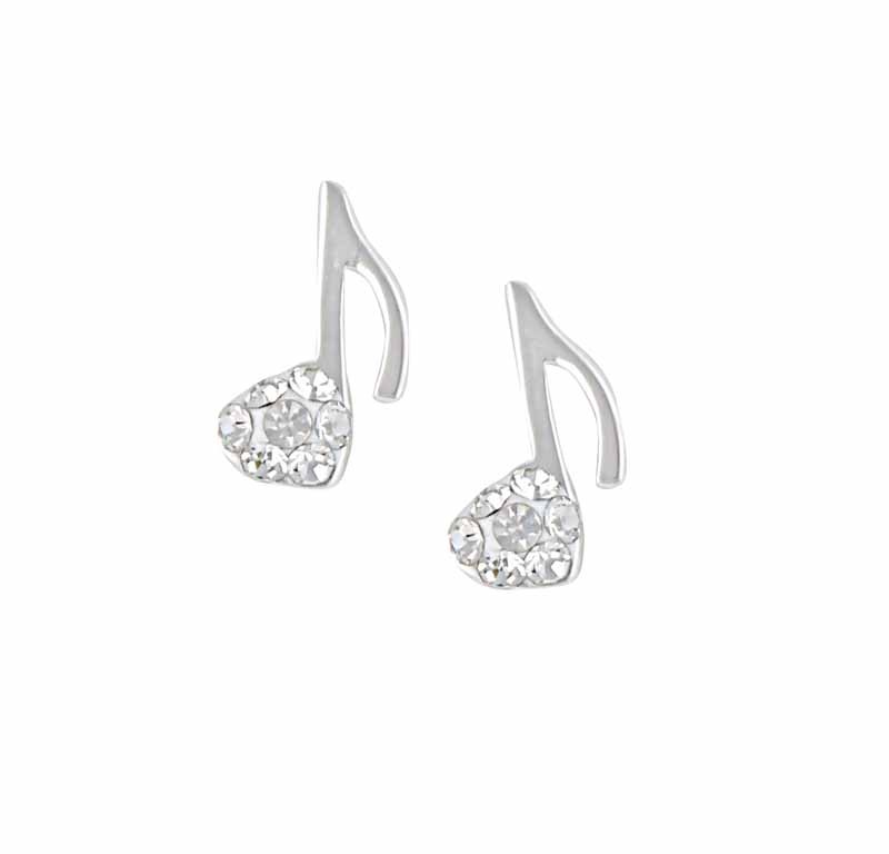 Music Note Cubic Zirconia Stud Earrings