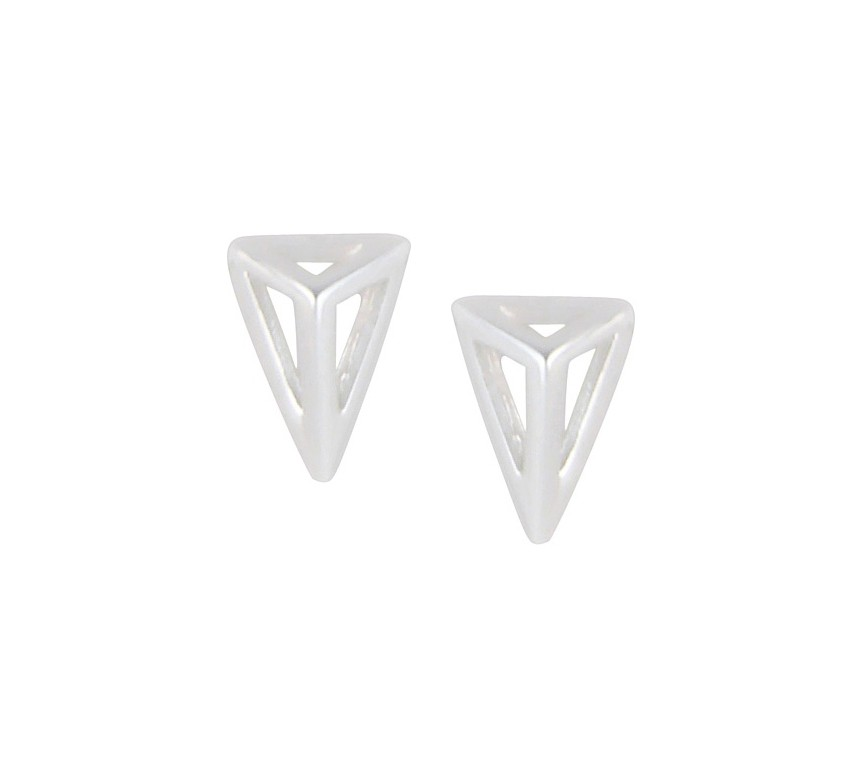 Open Triangle Silver Stud Earrings
