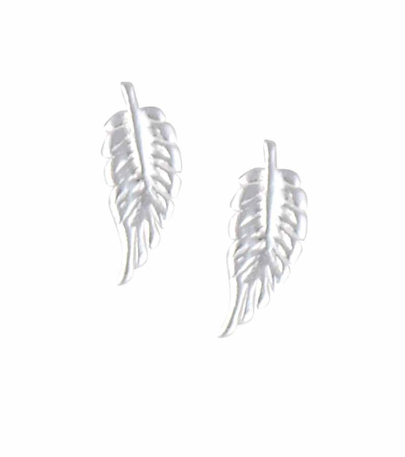 Stud Silver Feather Earrings