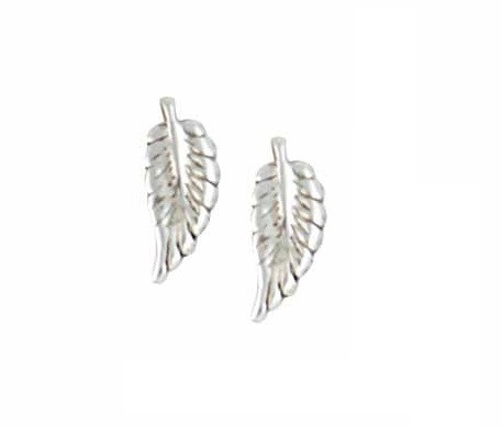 Small Silver Feather Earrings | Stud Earrings