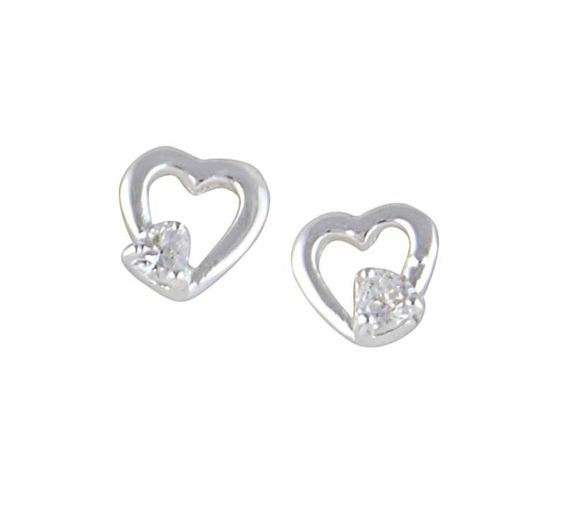 Open Heart and Cubic Zirconia Stud Earrings