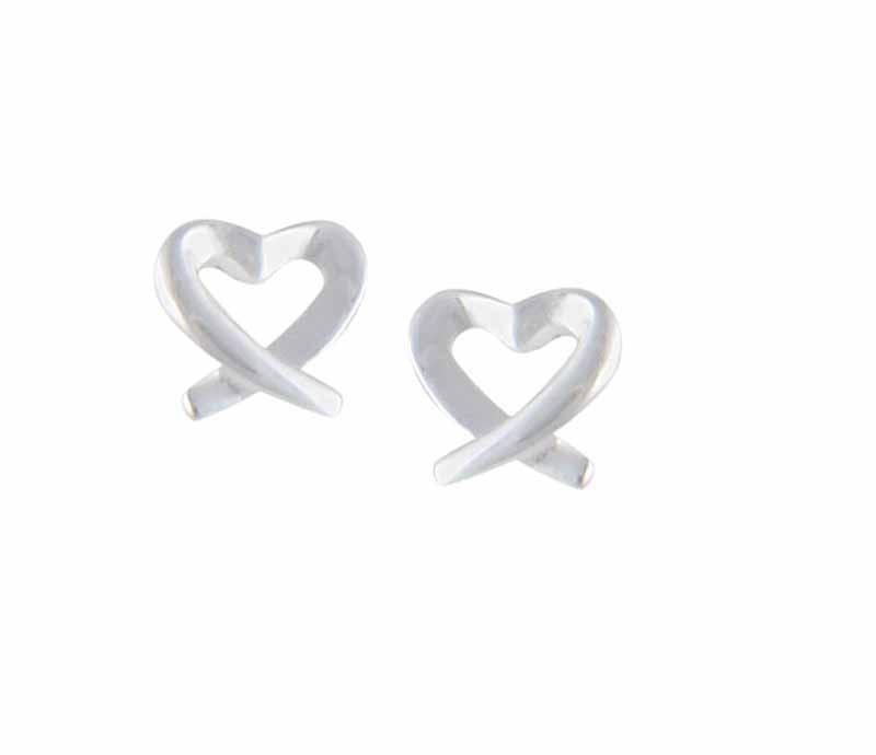 Crossover Silver Heart Earrings