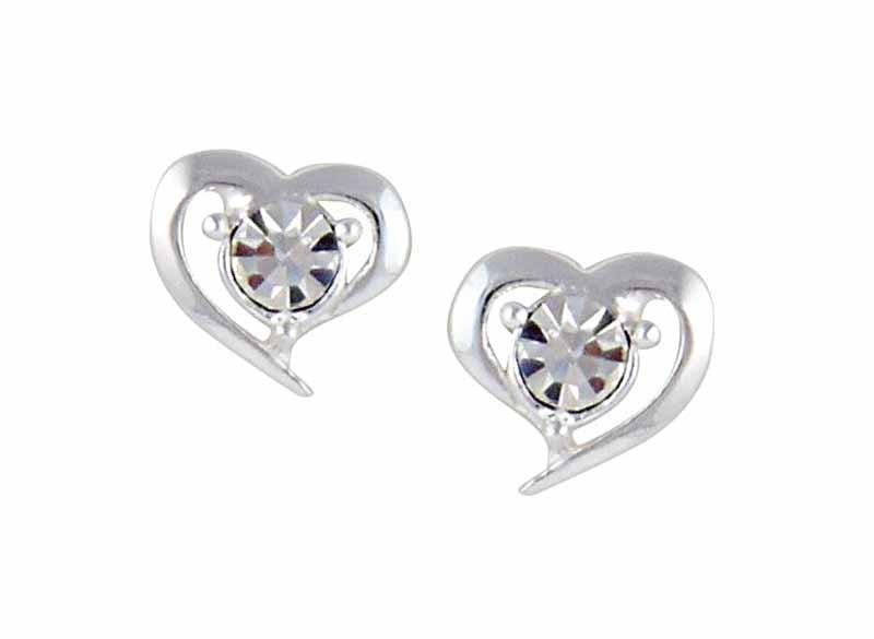Heart and Crystal Stud Earrings