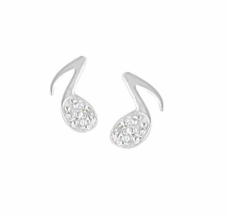 Music Note Sterling Silver Stud Earrings