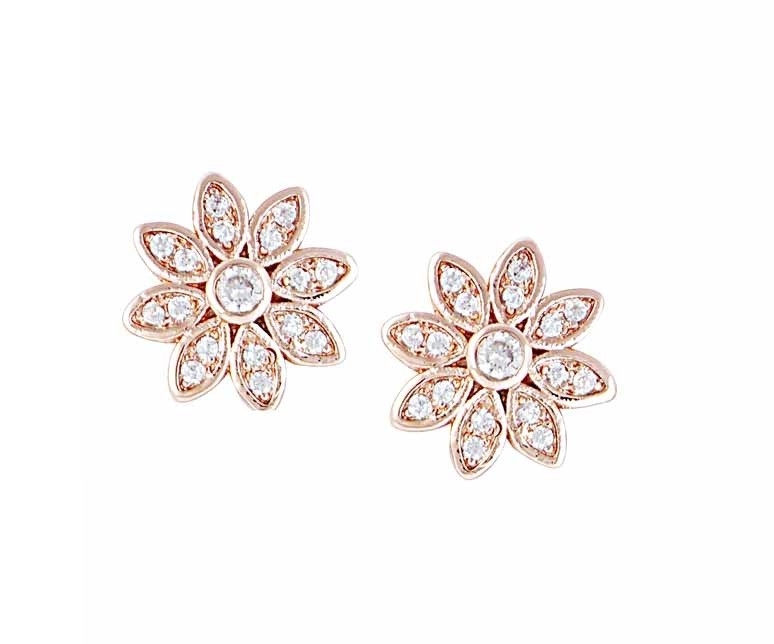Rhodium Plated Flower Stud Earrings