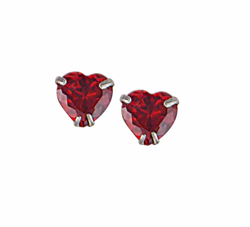 Heart Cubic Zirconia Stud Earrings