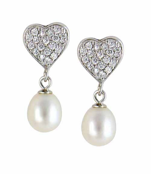 Freshwater Pearl and Silver Heart Earrings