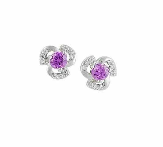 Floral Amethyst Stud Earrings