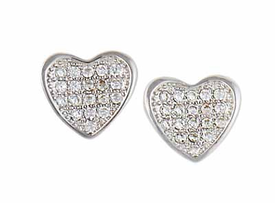 Sterling Silver Heart and Cubic Zirconia Stud Earrings
