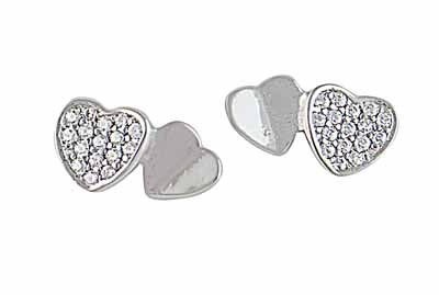 Cubic Zirconia and Plain Silver Heart Earrings