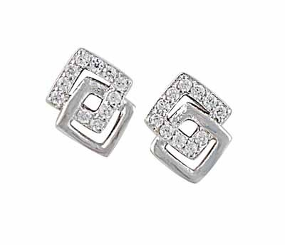 Interlink Square Sparkle and Silver Stud Earrings
