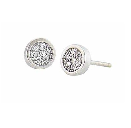 Cubic Zirconia Encrusted Circle Silver Stud Earrings