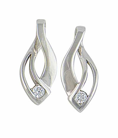 Sterling Silver Intertwined Design Stud Earrings