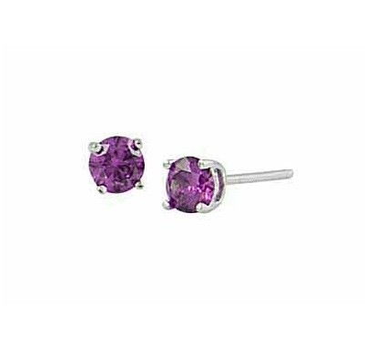 Purple Cubic Zirconia Silver Stud earrings