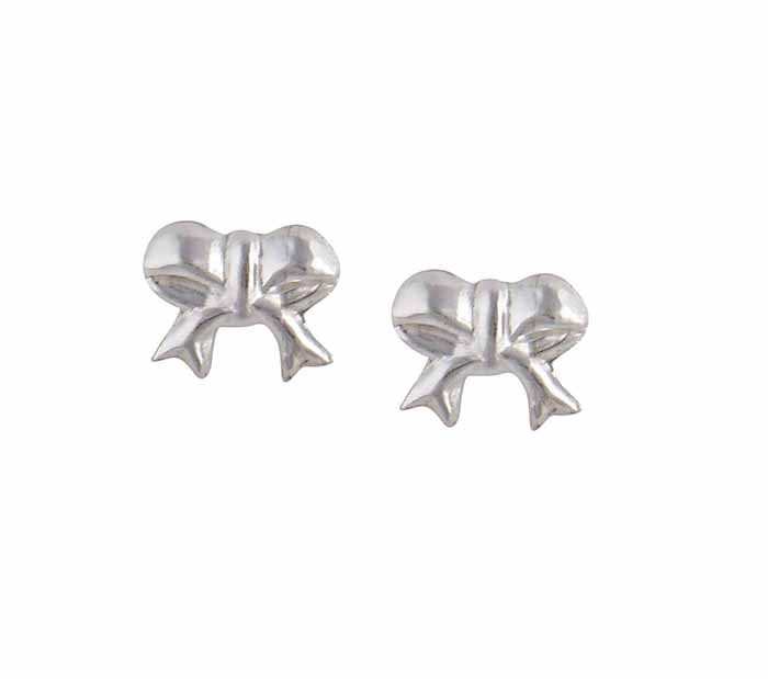 Bow Silver Stud Earrings