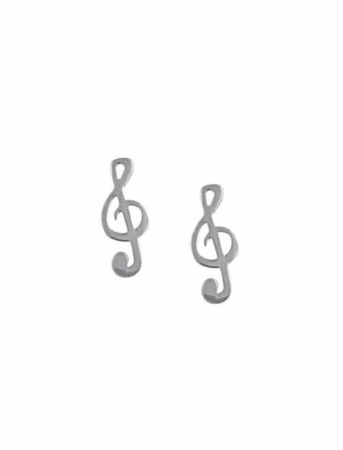 Treble Clef Silver stud Earrings