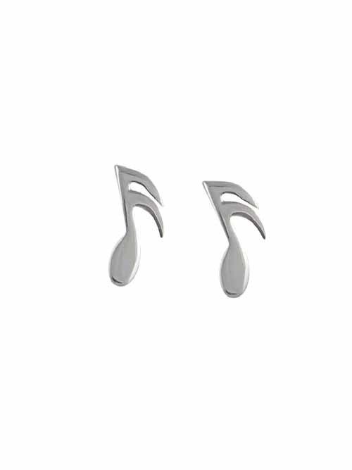 Semi-Quaver Silver Stud Earrings