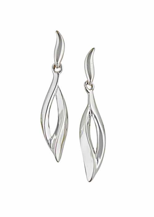 Open Leaf Silver Stud Earrings