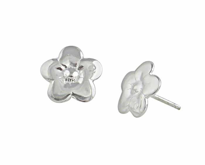 Five Petals Stud Silver Flower Earrings