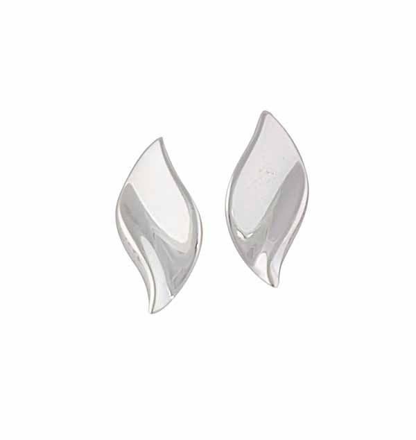 Curved Leaf Silver Stud Earrings