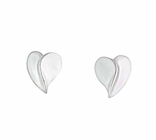 Curved Heart Silver Stud Earrings
