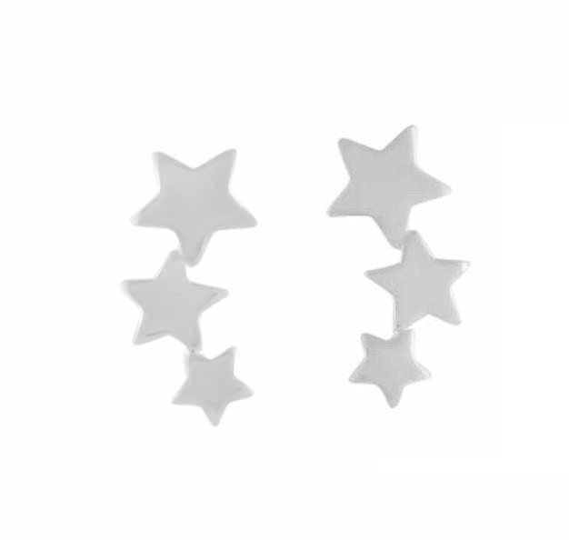 Three Star Silver Earrings