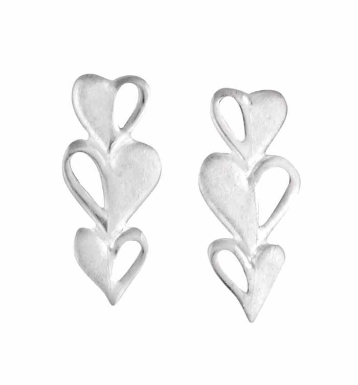 e03aece08 Triple Heart Silver Stud Earrings | The Opal