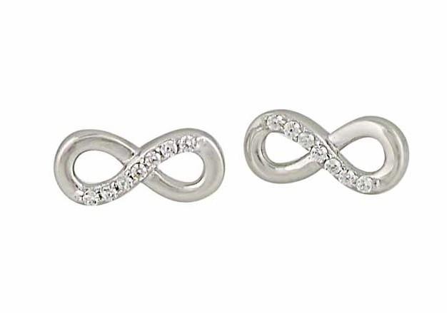 Cubic Zirconia Infinity Silver Stud Earrings
