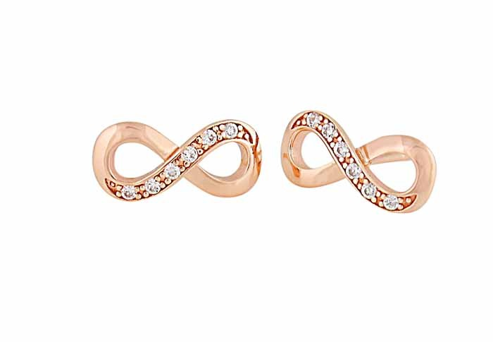 Rose Gold Plated Infinity Silver Earrings
