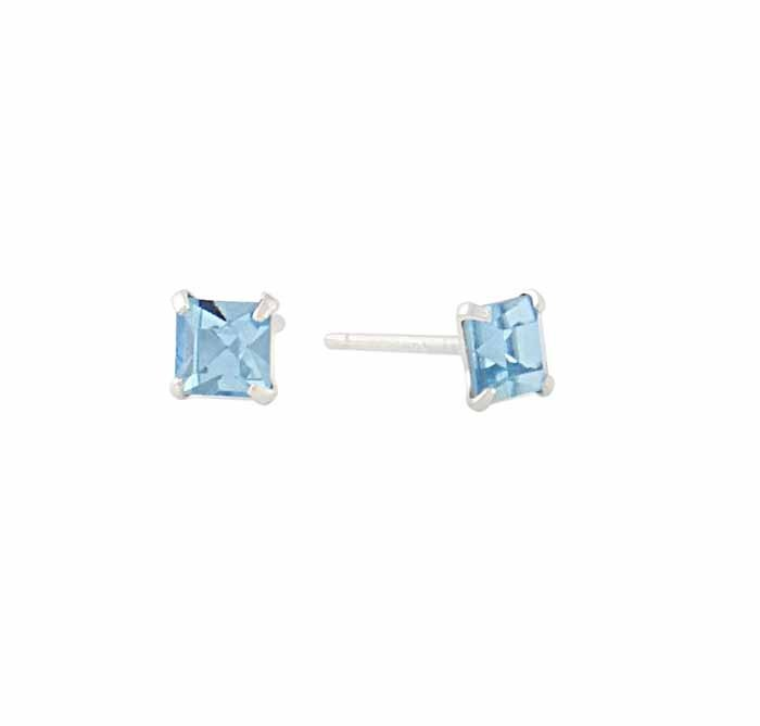 aeb461dad550d Square Aquamarine Swarovski Crystal Silver Stud Earrings