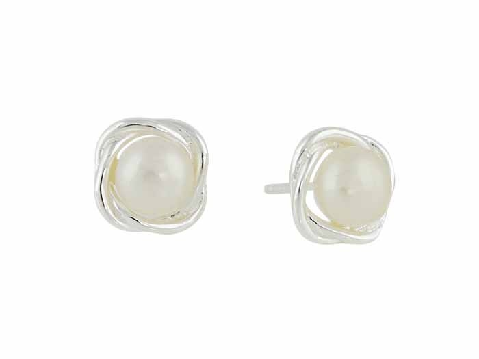 Silver Twist and Freshwater Pearl Small Stud Earrings