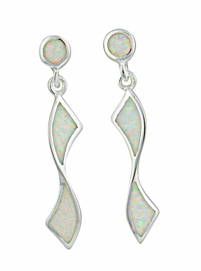White Opal Twisted Silver Drop Earrings