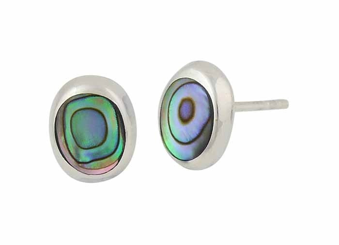 Oval Abalone Silver Stud Earrings