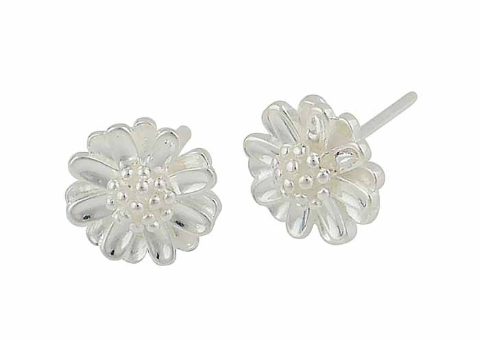 Intricate Floral Design Silver Stud
