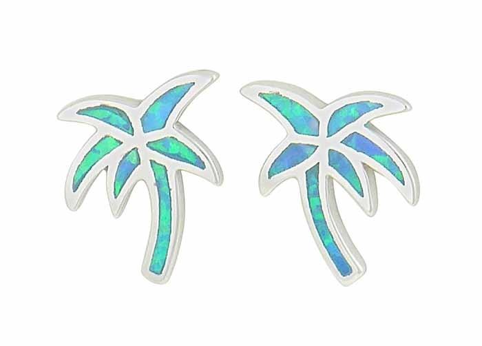 Palm Tree Blue Opal Silver Stud Earrings