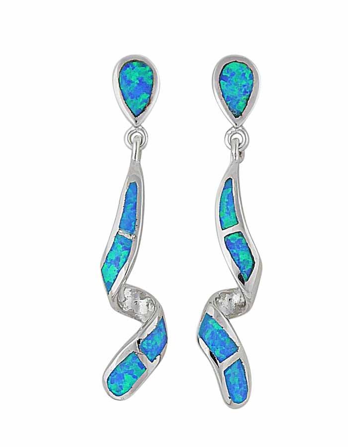 Blue Opal Twisted Bar Silver Drop Earrings