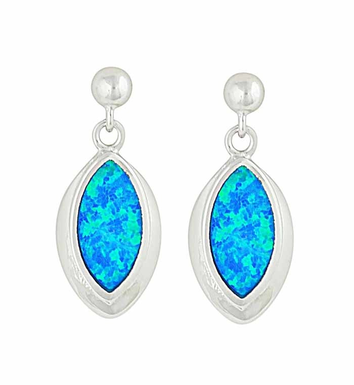 Marquise Blue Opal Silver Earrings | The Opal