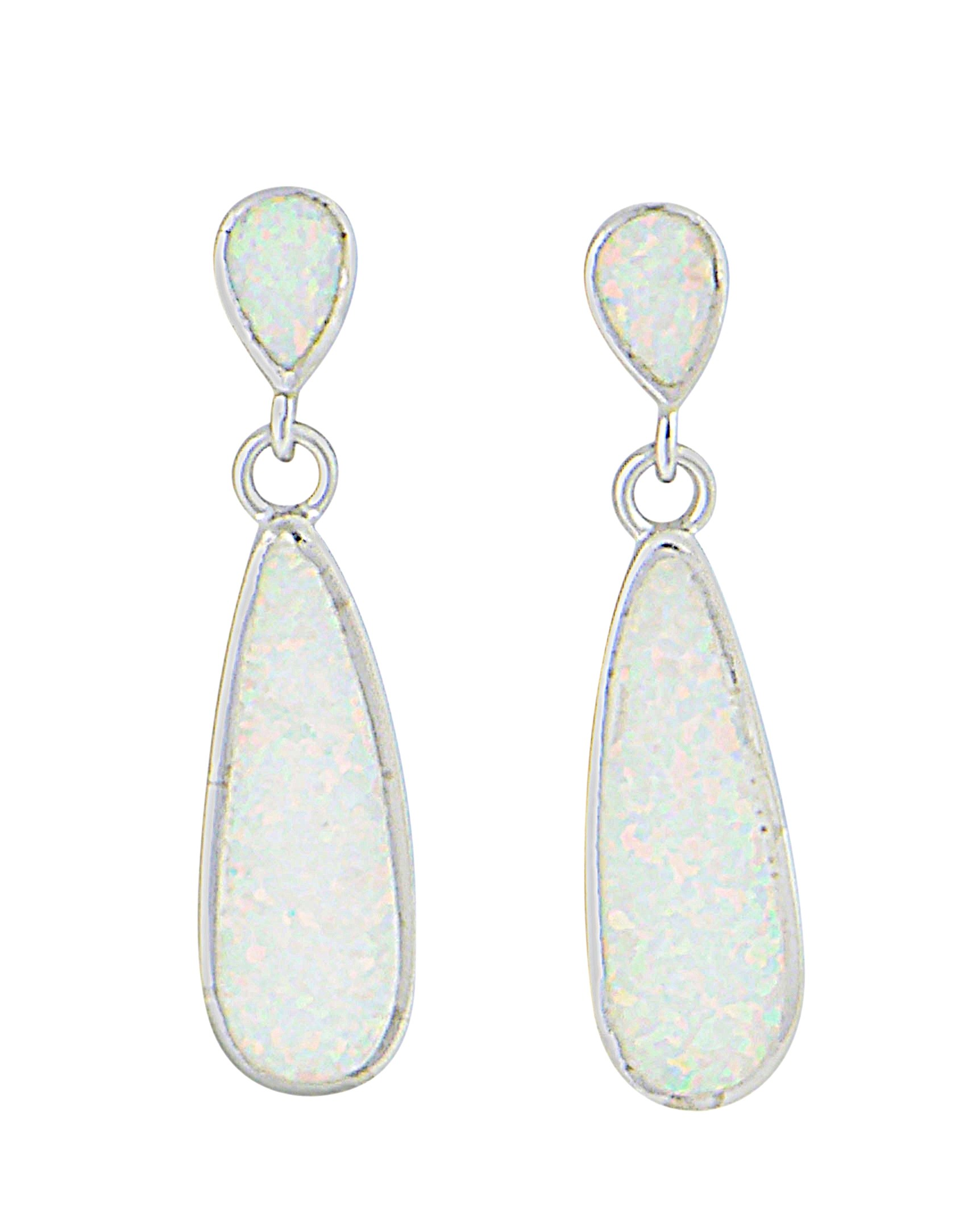 Elongated Teardrop Opal Silver Stud Earrings | The Opal