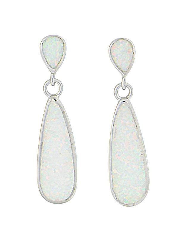 Elongated Teardrop Opal Silver Stud Earrings