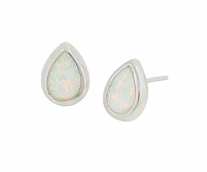 White Opal Teardrop Stud Earrings - 8mm