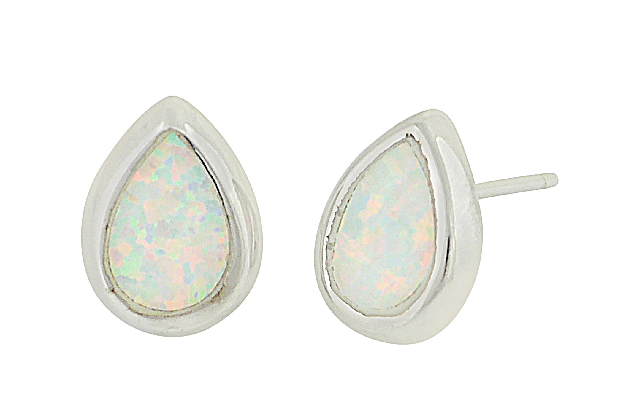 Small Teardrop Silver Earrings - White Opal | The Opal