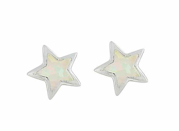 Small Star White Opal Silver Stud Earrings