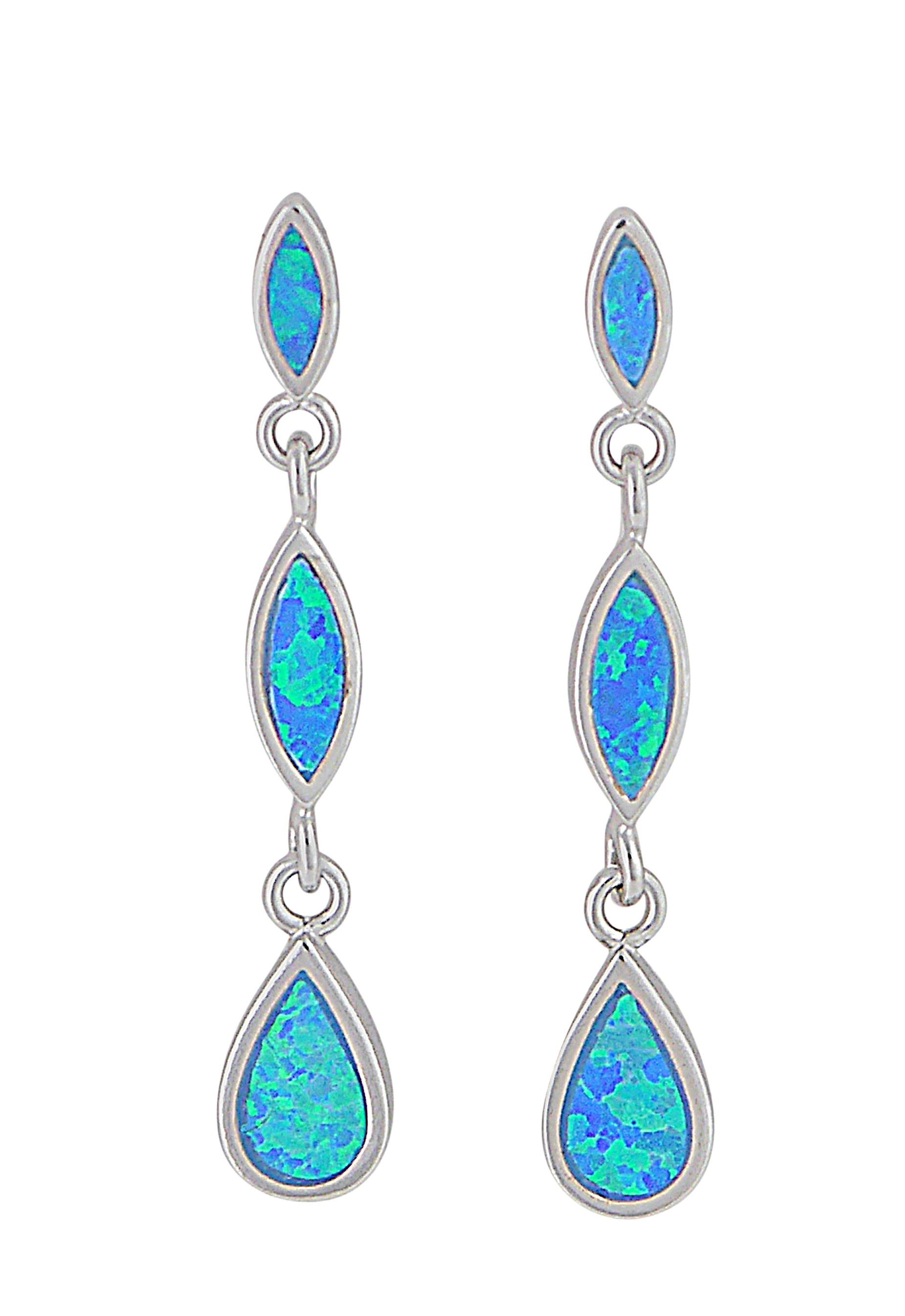 Teardrop and Marquise Opal Silver Earrings | The Opal